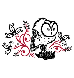Owls floral vector image