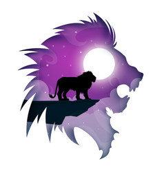 paper lion cartoon night landscape vector image