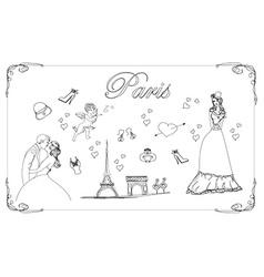 Paris icons doodles set vector image