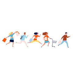 people run with purchases shopping time sale vector image