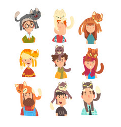 people with funny cats sitting on their heads set vector image