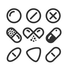 pills and drugs line style icon set vector image