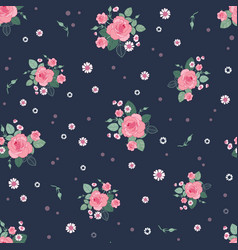 Pink grey roses ditsy vintage seamless pattern vector