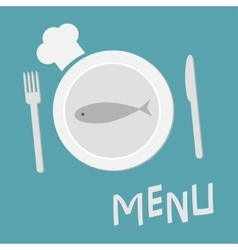 Plate with fish fork knife and chefs hat menu vector