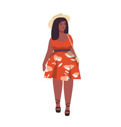 Plus size woman flat curvy vector