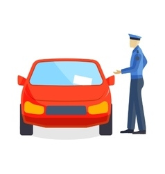 Policeman writing speeding ticket driver parking vector image