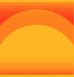 Pop art background orange in red color sunset vector