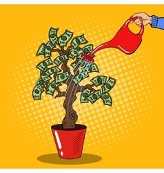 Pop Art Woman Hand with Can Watering Money Tree vector