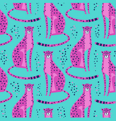 Seamless pattern with cheetahs leopards repeated vector