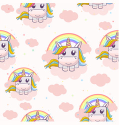 seamless textured pattern with square unicorns on vector image