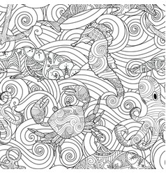 serene hand drawn outline seamless pattern with vector image