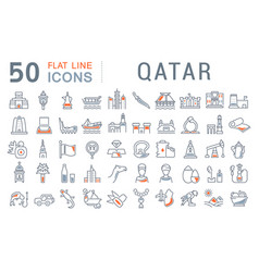 set line icons qatar vector image