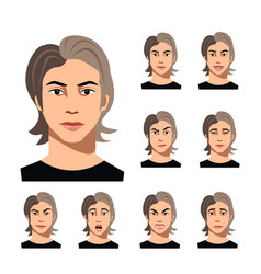 Set of a man faces different emotions vector