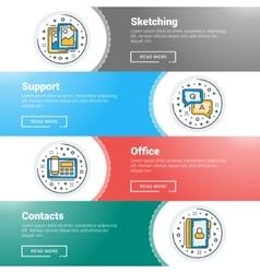 Set of flat line business website banner templates vector