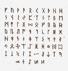 Set of old norse scandinavian runes runic vector
