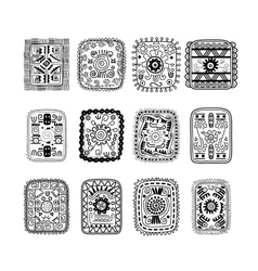 Set of rectangular ethnic ornaments in black and vector image