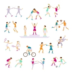 Set sport people activities vector