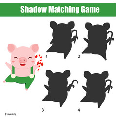 Shadow matching game kids activity with funny pig vector