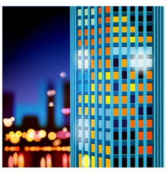skyscrapers at night vector image vector image
