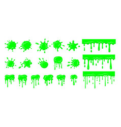 Slime drip blob splatters set green dirt vector