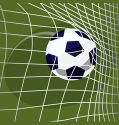 Soccer ball falls into net of goal vector