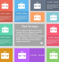 suitcase icon sign Set of multicolored buttons vector image