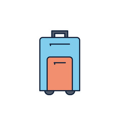 suitcase luggage summer icon line and fill vector image