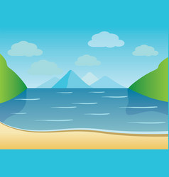 Summer background of beach with waves clouds vector