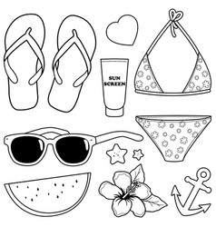 summer beach vacation objects vector image