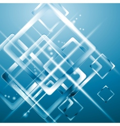 Tech blue background with blurred squares vector