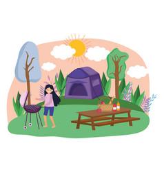 tent and woman cartoon design vector image