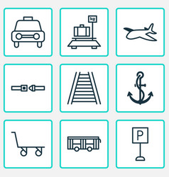 transportation icons set with car vehicle ship vector image