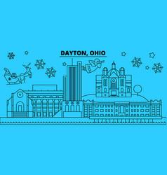 United states dayton winter holidays skyline vector