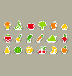 vegetables and fruit icons on stickers vector image