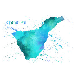 watercolor map tenerife stylized image vector image