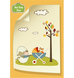 Welcome card with broken egg and carriage vector