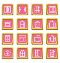 window design icons set pink square vector image