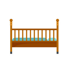 Wood baby bed icon flat style vector