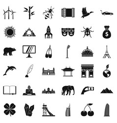 World icons set simple style vector