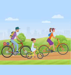 Young family with girl kid riding a bikes on the vector