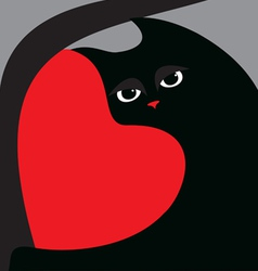 black cat and red heart vector image