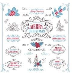 Christmas Calligraphic Retro Design Elements vector image