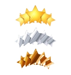 Golden silver and bronze five glossy rating stars vector image vector image