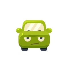 Sceptic green car emoji vector