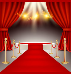 winners podium with red carpet realistic vector image