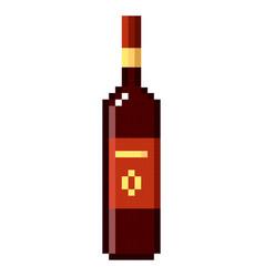 bottle of wine pixel art cartoon retro game style vector image vector image