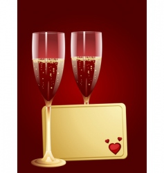 champagne and valentine message tag vector image
