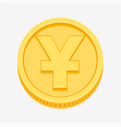 chinese yuan or japanese yen symbol on gold coin vector image