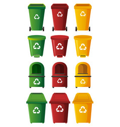 different designs of trashcans in three colors vector image