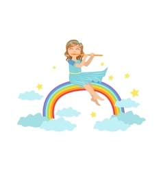 Girl Playing Flute With Rainbow And Clouds vector image vector image